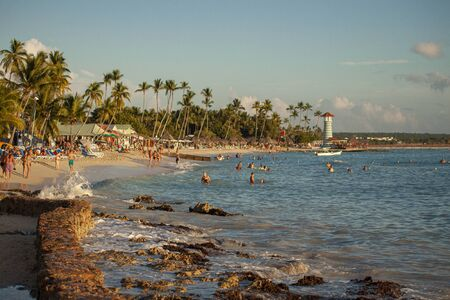View of Dominicus beach in Bayahibe in the Dominican Republic at sunset Stock Photo