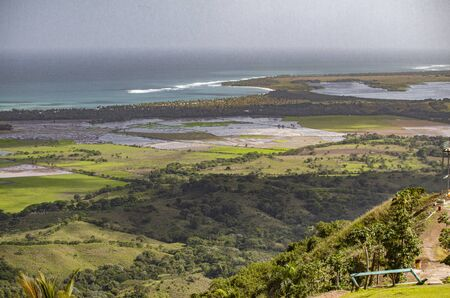 Panorama of the view from the height of Montaña Redonda in the Dominican Republic