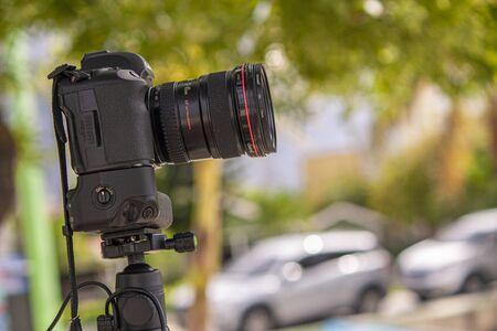 BAYAHIBE, DOMINICAN REPUBLIC 21 JANUARY 2020: Digital camera on tripod