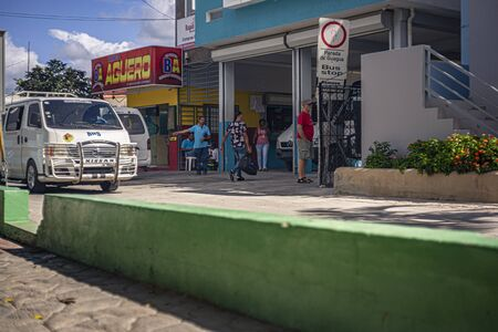 BAYAHIBE, DOMINICAN REPUBLIC 21 JANUARY 2020: Scene taken at the bus stop in Bayahibe in the Dominican Republic