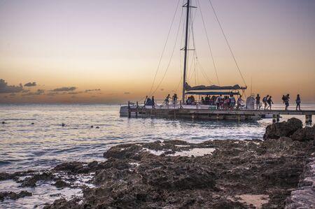 BAYAHIBE, DOMINICAN REPUBLIC 21 JANUARY 2020: Catamaran returning from Saona islad in Dominican republic