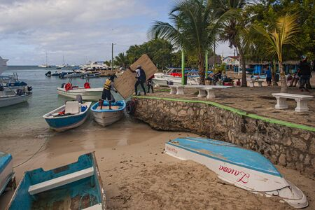 BAYAHIBE, DOMINICAN REPUBLIC 21 JANUARY 2020: Bayahibe Port with boats in Dominican Republic