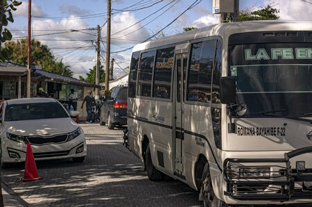 BAYAHIBE, DOMINICAN REPUBLIC 22 JANUARY 2020: Scene of daily and hectic life in the village of Bayahibe in the Dominican Republic
