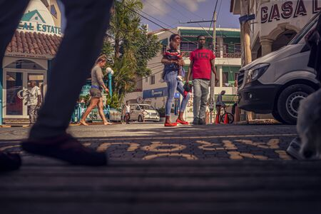 BAYAHIBE, DOMINICAN REPUBLIC 26 JANUARY 2020: Scene of daily life in the town of Bayahibe in the Dominican Republic during a summer day 報道画像