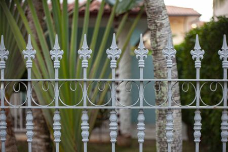 Wrought iron railing detail in caraibic city Standard-Bild