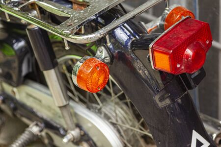 Detail of a Tail light of a vintage motorcycle