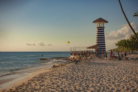 Dominicus beach with lighthouse at sunset time 版權商用圖片