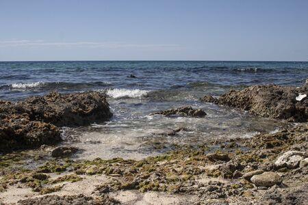 Rocky beach in the Dominican Republic in a sunny day