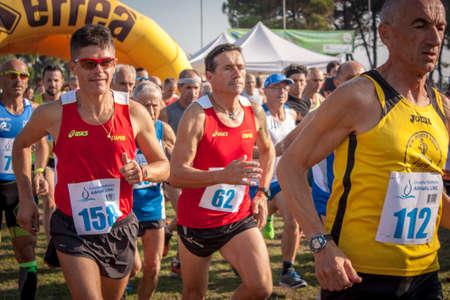 ALBARELLA, ITALY 10 MARCH 2020: Marathon competition on the island of Albarella in Italy Editorial