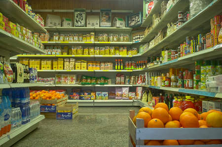 FRATTA POLESINE, ITALY 18 MARCH 2020: Shelves of a grocery store