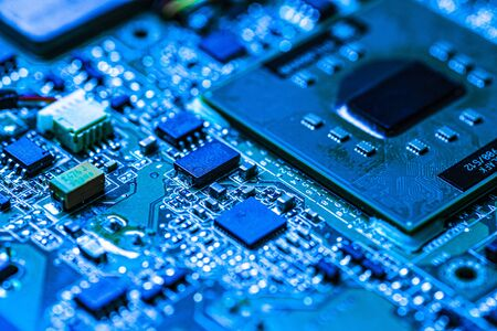Electronic components detail with clearly visible construction and functional details of the chip