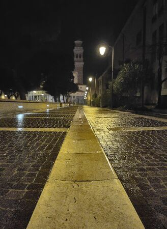 Rovigo alleyway in Italy during night 스톡 콘텐츠