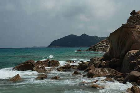 Sardinian rocky and natural beach landscape during a summer day Stok Fotoğraf