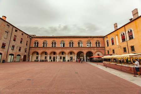 FERRARA, ITALY 29 JULY 2020: Piazza municipale in Ferrara, a famous square in the historical city center of the Italian city