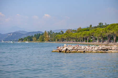 Panorama of Garda Lake in Lazise in Italy during summer