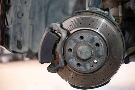 Detail of a worn disc brake ready for replacement 3