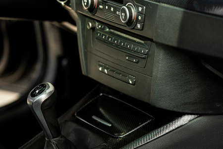 Detail of a luxury Car gear lever