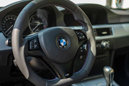 MILAN, ITALY 5 APRIL 2021: Bmw steering wheel detail