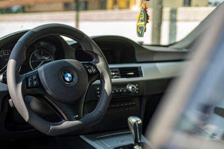 MILAN, ITALY 5 APRIL 2021: Bmw car interior detail