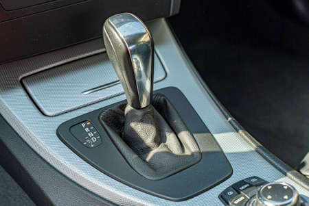 Detail of the automatic gear lever of a modern car