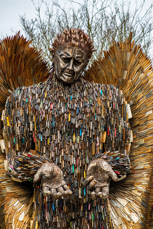 HULL, ENGLAND - MARCH 2ND, 2019: An Angel made out of knives stands in Hull