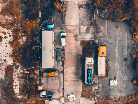 An aerial shot of a  construction site in Sheffield taken on a drone 版權商用圖片