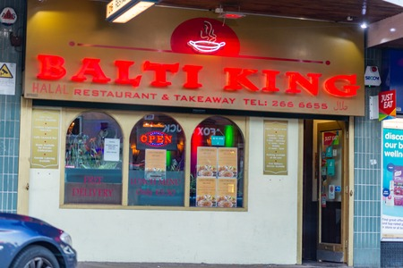 SHEFFIELD, UK - 20TH OCTOBER 2018: The front of the Balti King Halal restaurant - Sheffield Editorial