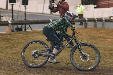 SHEFFIELD, UK - 23RD MARCH 2019: Mountain bike riders take part in the thrilling Howard Street Dual during the Outdoor City Weekender in Sheffield