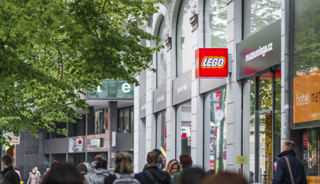 PRAGUE, CZECHIA - 12TH APRIL 2019: The red Lego logo outside the Museum and store in downtown Prague