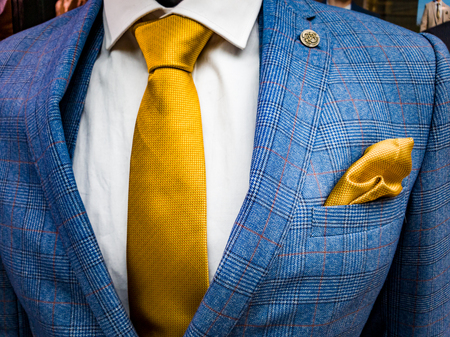 Latest trends in Suit, shirt and tie combination - Blue suit - Yellow tie - White shirt