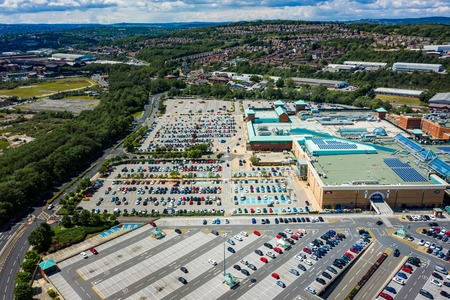 Aerial image of Meadowhall, one of the largest shopping malls in the UK in Summer 2019