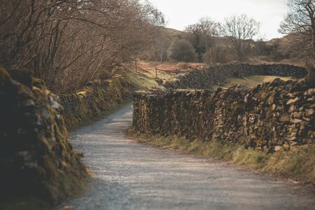 Typical English Countryside Road in the North Of England, Morning Winter