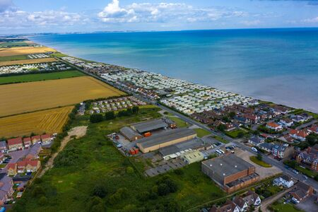 Aerial View of holiday trailer homes along the beach in Hornsea Town