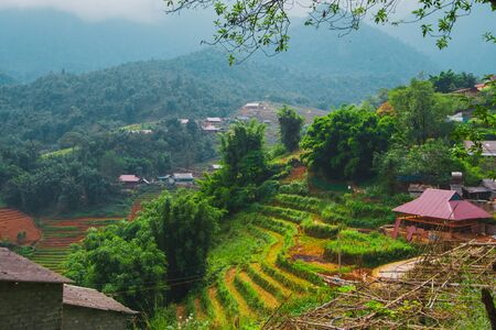 Stunning image of rice terraces and mountains surrounding Cat Cat Village, Below Sapa in Northern Vietnam