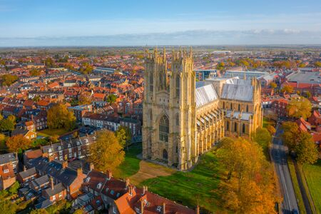 Overhead aerial top down view of Beverley Minster, the large gothic church in the centre of the small market town in East Yorkshire, UK. Shot in Autumn 2019