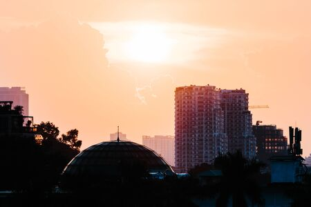 Hanoi Cityscape silhouette at Sunset in October 2019 - Showing the construction taking place in the Asian City