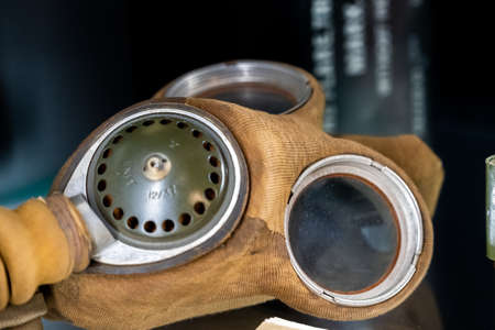 British MK IV General Service Respirator used in WW2 on display in a museum
