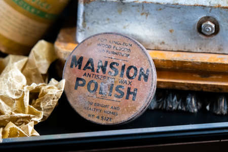 Aldershot, UK - 5th September 2020: Vintage Antiseptic wax polish from the 1900s on display in a museum in the UK
