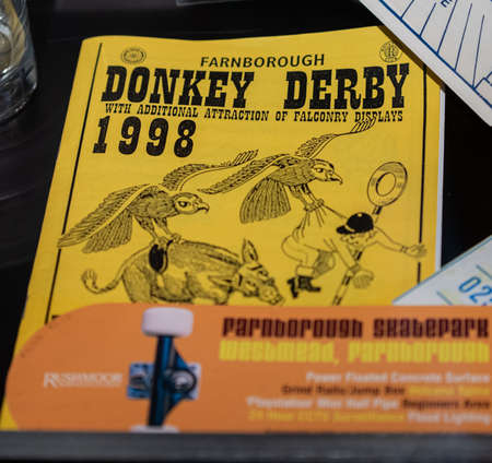 Aldershot, UK - 5th September 2020: Magazine from Farnborough Donkey Derby in 1998 on display in a museum