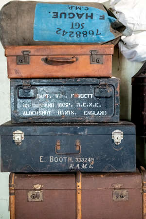 Aldershot, UK - 5th September 2020: Suitcases from evacuated children during world war two in England, UK