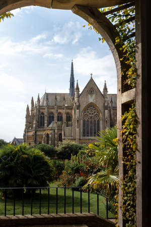 Arundel Cathedral church of our lady and St Philip Howard in West Sussex, England. Summer 2020 flowers blooming.