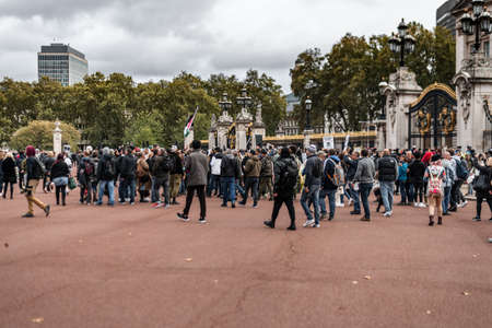 London, UK - 26th September 2020: Peaceful of anti mask protests outside Buckingham Palace Westminster in London with police and protestors