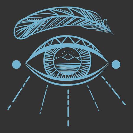 yeux: Voyant oeil sur fond sombre Illustration