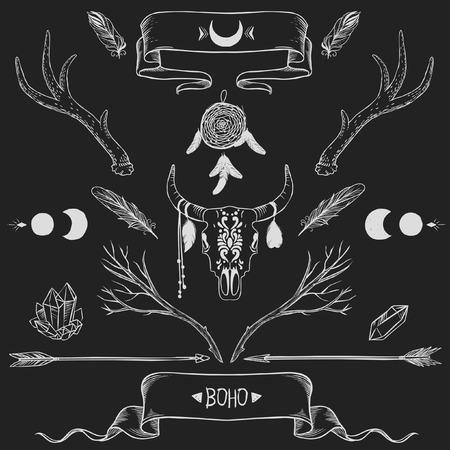 Bohemian design elements Illustration