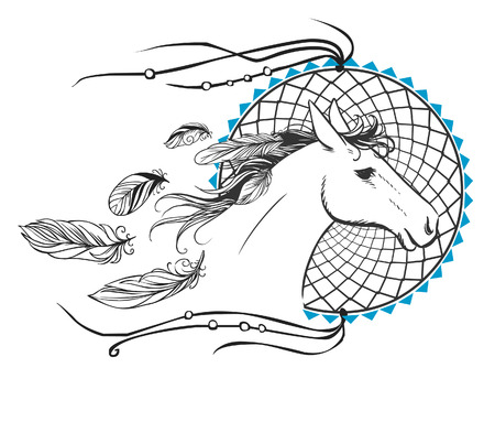 hand on the head: Running horse head Illustration