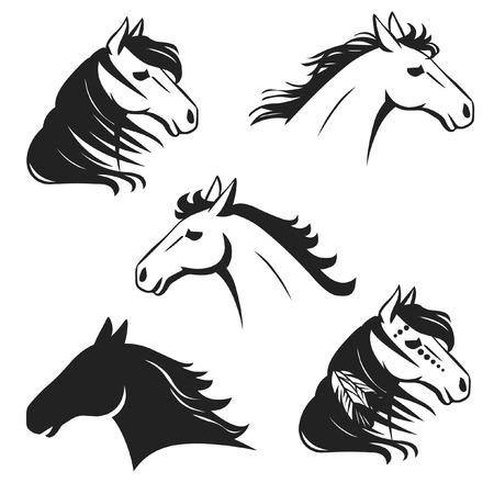 Running horses heads Stock Illustratie