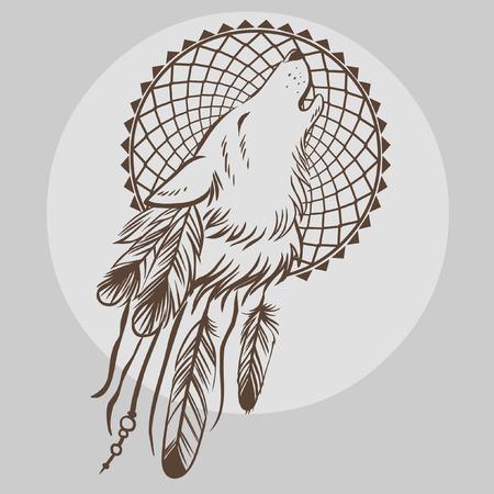 Hand getrokken vector illustratie van Howling hoofd wolf