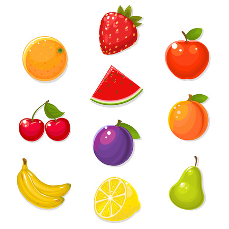 strawberry cartoon: Cute fruits on white background