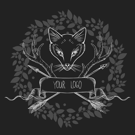deer hunting: Vector illustration in bohemian style