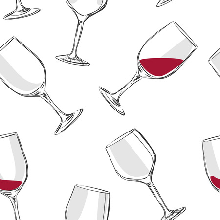 glass with red wine: Wine glass. Hand drawn vector seamless pattern